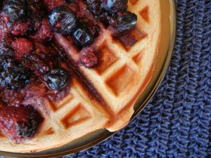 Protein Waffles with Berry Compote